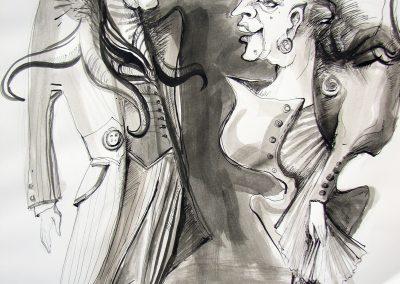 "2. B. Nušić ""Ožalošćena porodica"", Pozorište mladih, Novi Sad, 2012, režija-Emilija Mrdaković, kreacija lutaka-Milica Grbić Komazec"